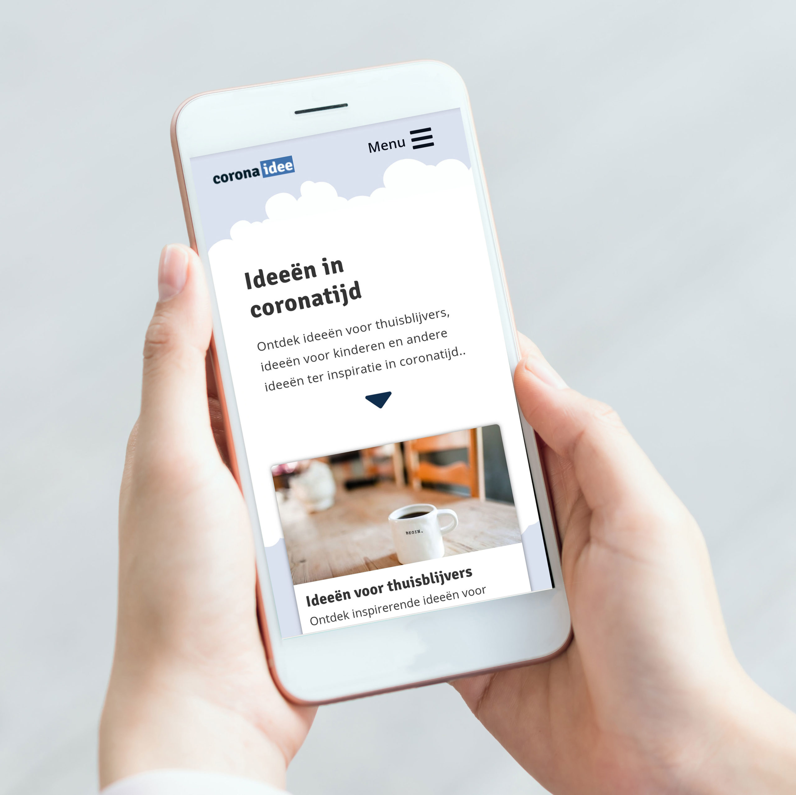 Portfolio website Corona idee op smartphone